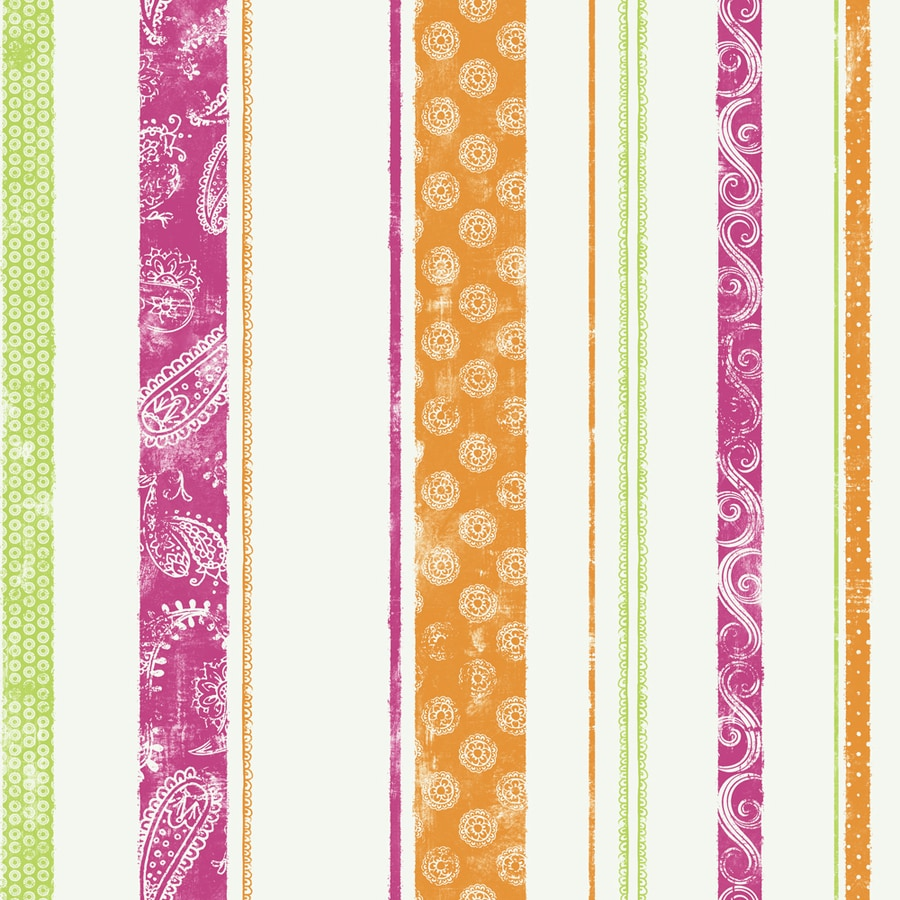 York Wallcoverings Disney Kids Pink/Green/Orange Paper Stripes Wallpaper