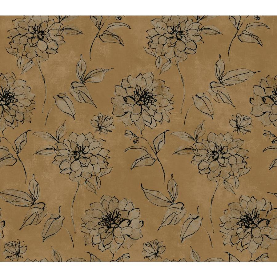 Inspired By Color Metallics Book Brown Paper Floral Wallpaper