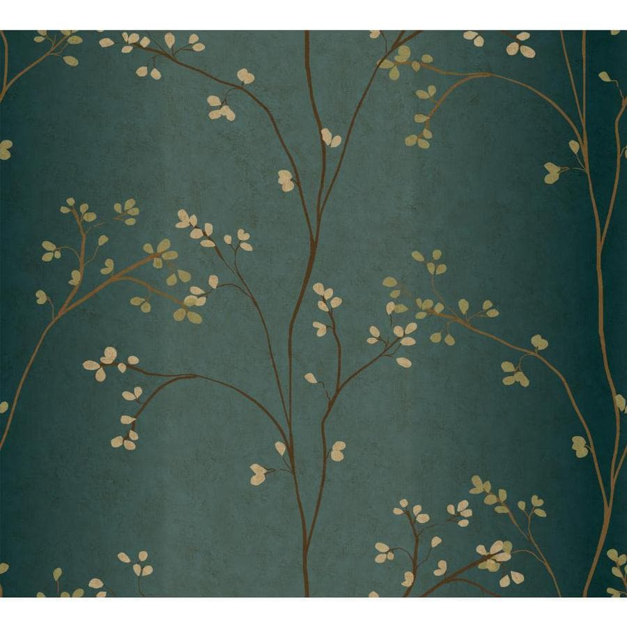 Inspired By Color Blue Book Teal and Brown Paper Floral Wallpaper