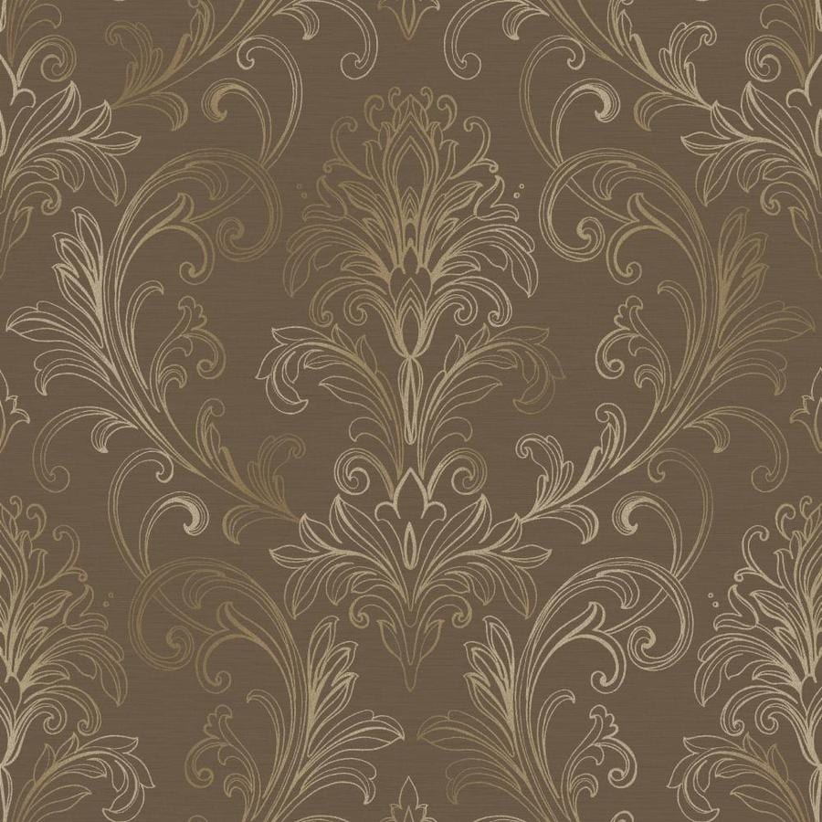 Inspired By Color Metallics Book Brown Paper Damask Wallpaper