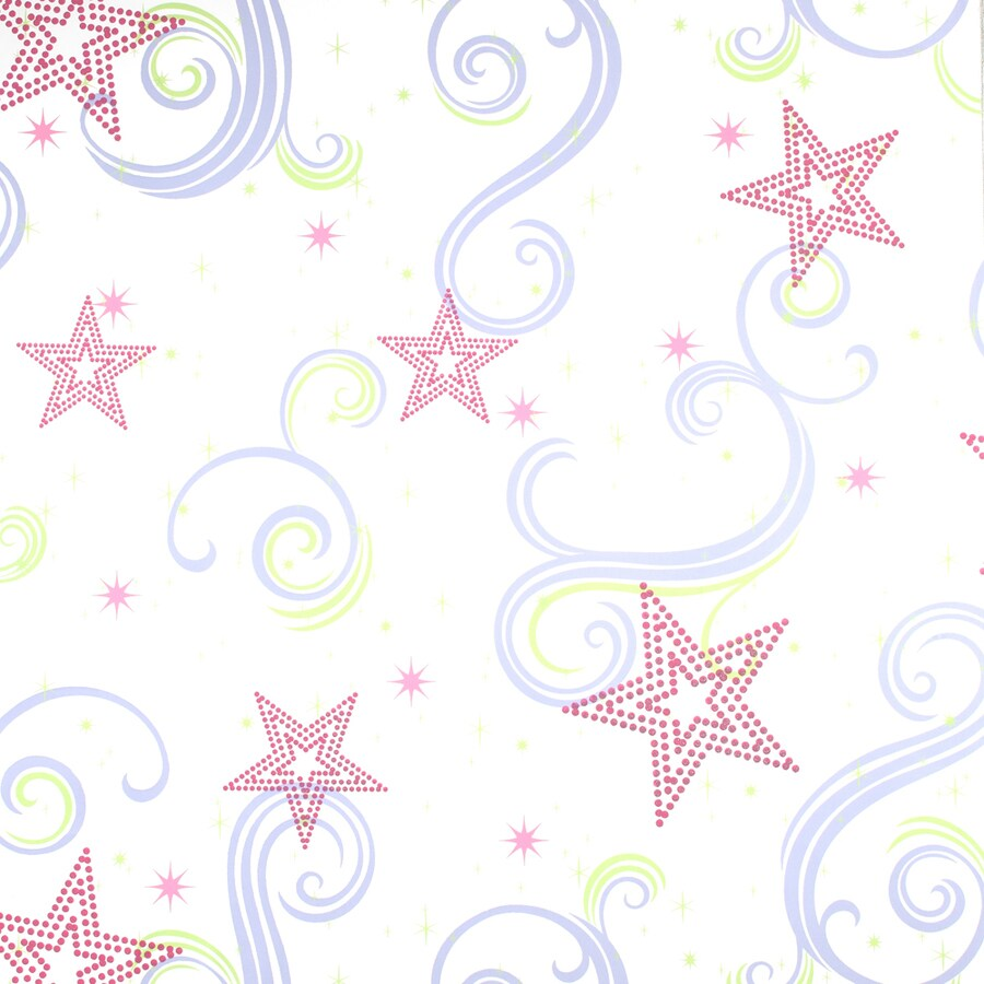 York Wallcoverings Disney Kids White/Pink/Purple with Glitter Paper Geometric Wallpaper