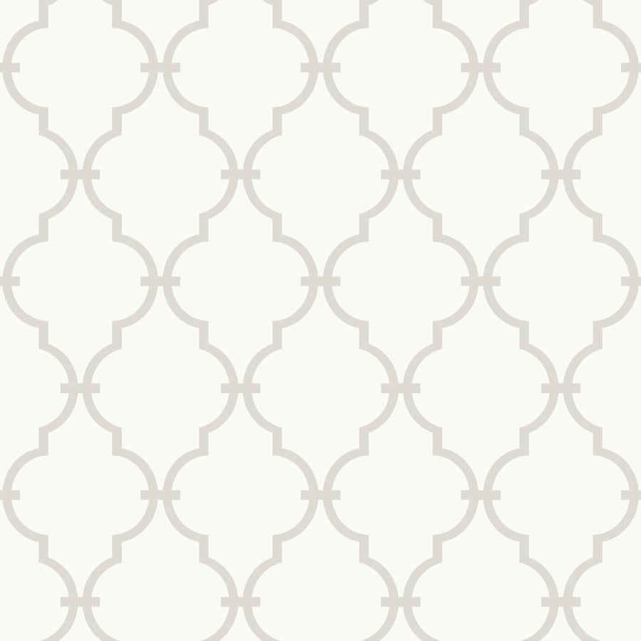 York Wallcoverings White and Soft Taupe Gray Paper Wallpaper
