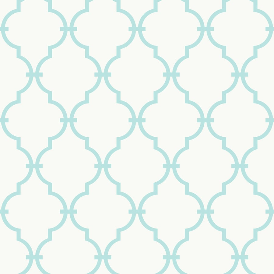York Wallcoverings Peek-A-Boo White and Soft Turquoise Paper Geometric Wallpaper