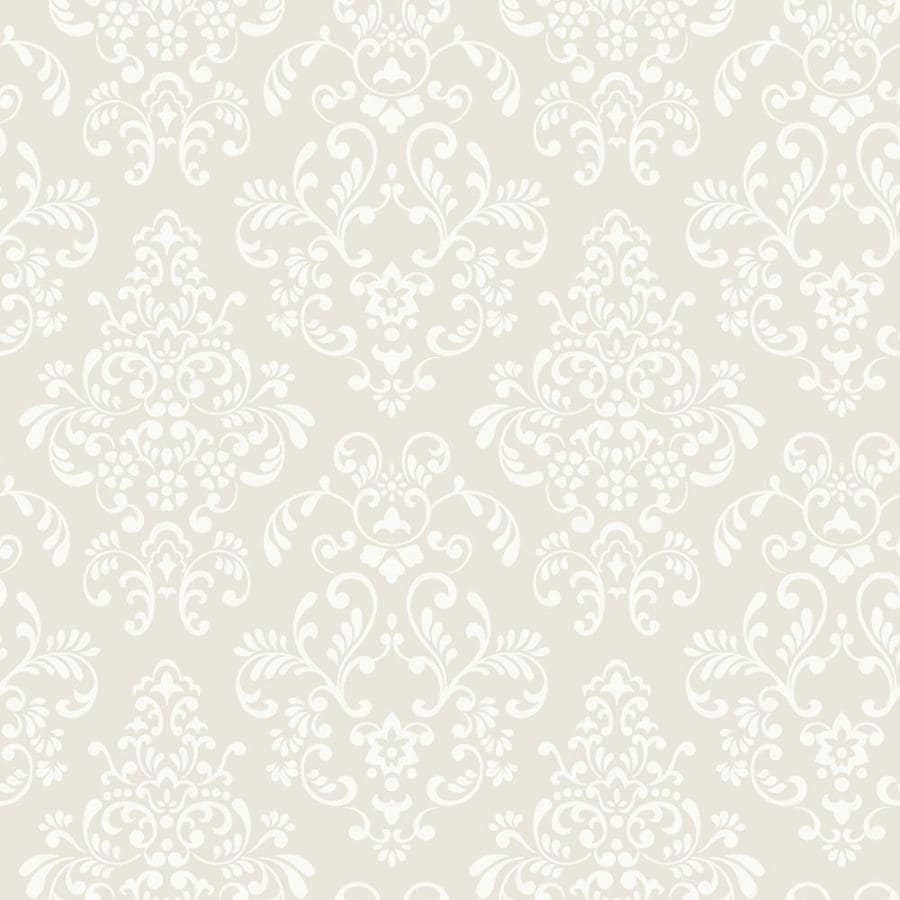 York Wallcoverings Gray, Cream Paper Damask Wallpaper