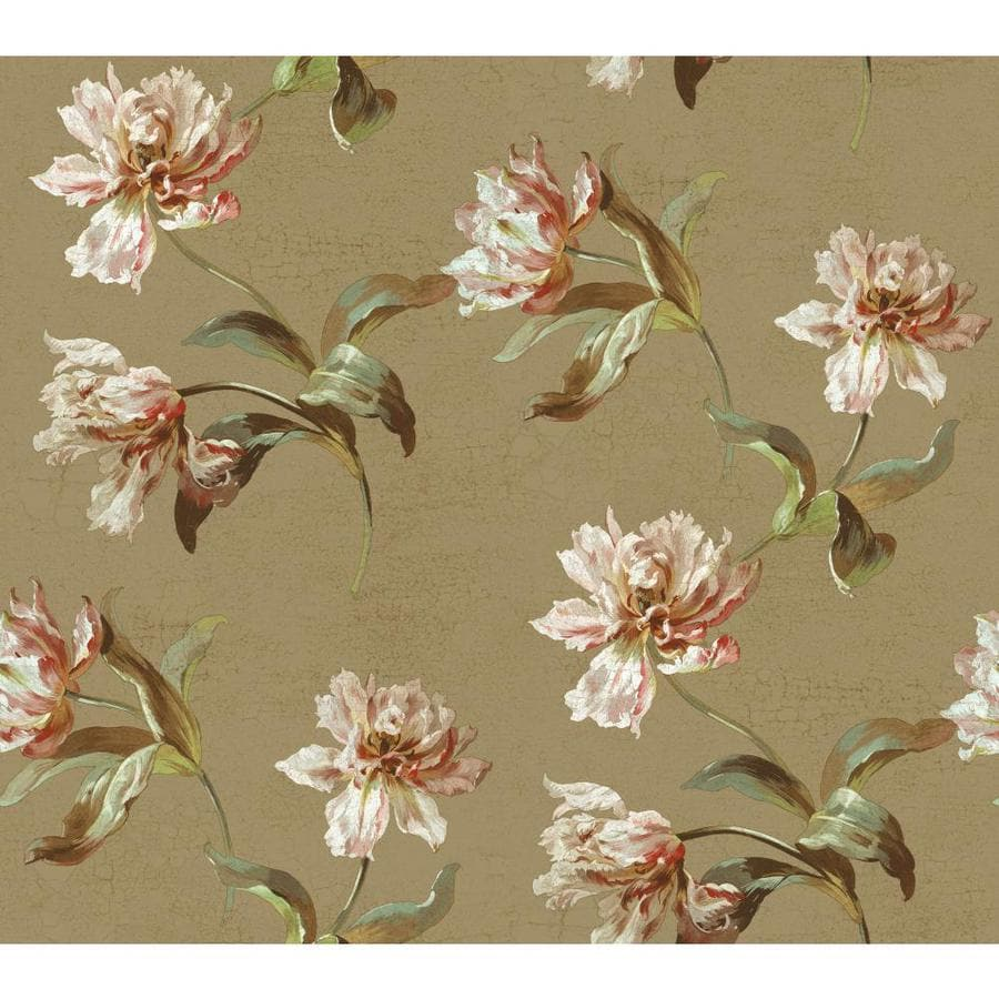 York Wallcoverings Beige Book Beige, Almond Paper Floral Wallpaper