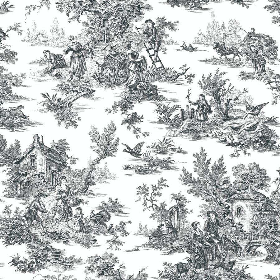 York Wallcoverings Black and White Paper Toile Wallpaper