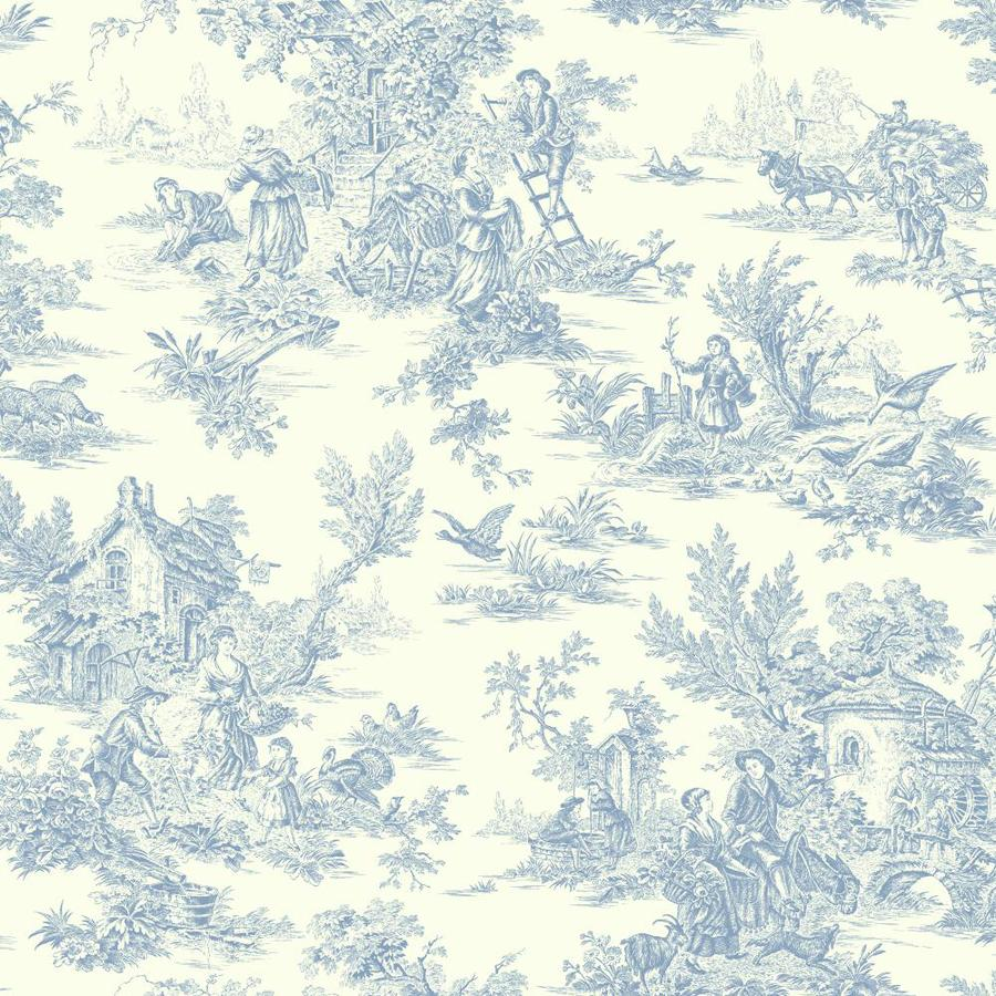Inspired By Color Blue Book Blue and Off-White Paper Toile Wallpaper