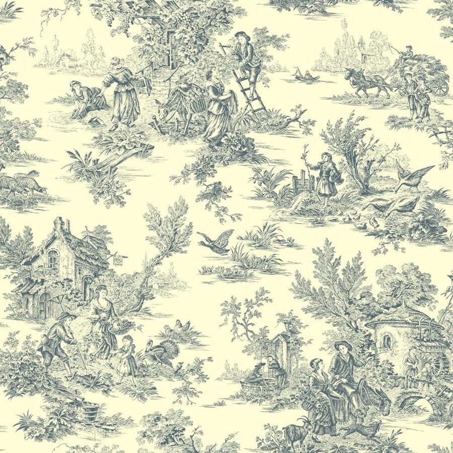Inspired By Color Blue Book Blue and Cream Paper Toile Wallpaper