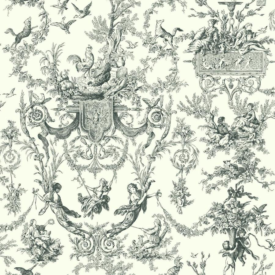 York Wallcoverings Black and White Book Black and Ivory Paper Toile Wallpaper