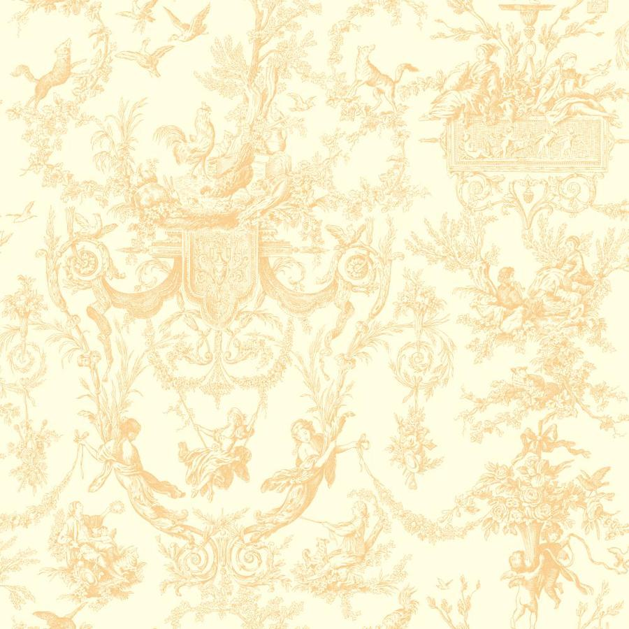 York Wallcoverings Beige Book Cream Paper Toile Wallpaper