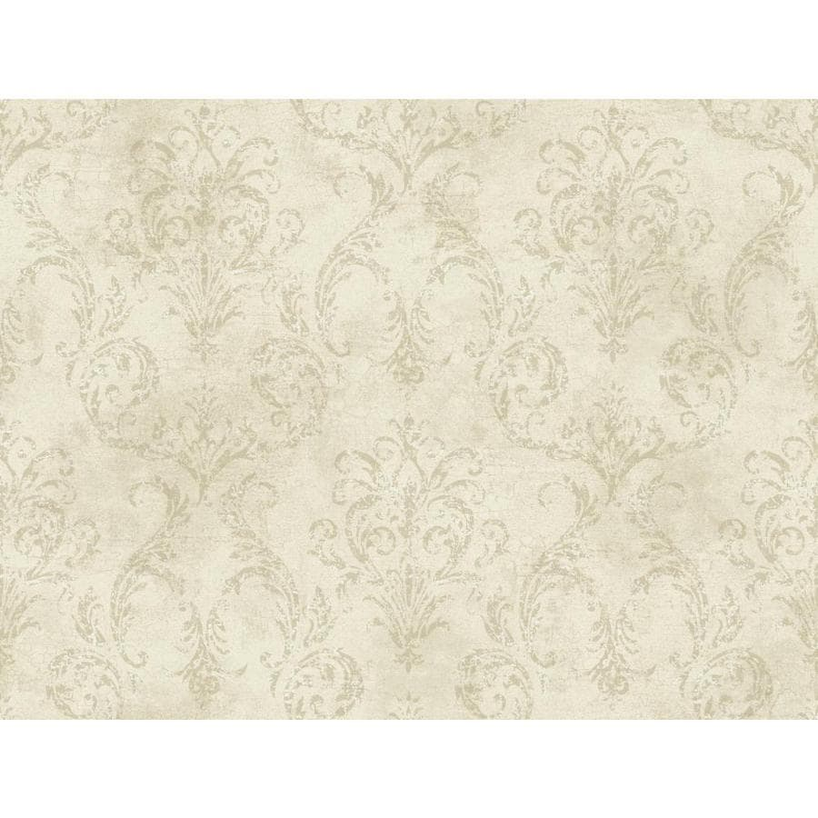 York Wallcoverings Beige Book Beige, Gray Paper Textured Damask Wallpaper