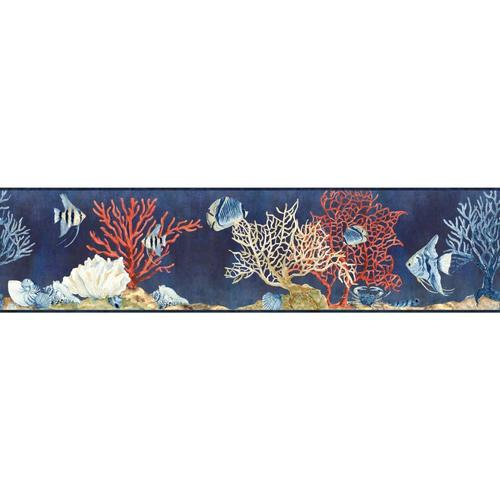 RoomMates 9-in Blue Prepasted Wallpaper Border in the ...