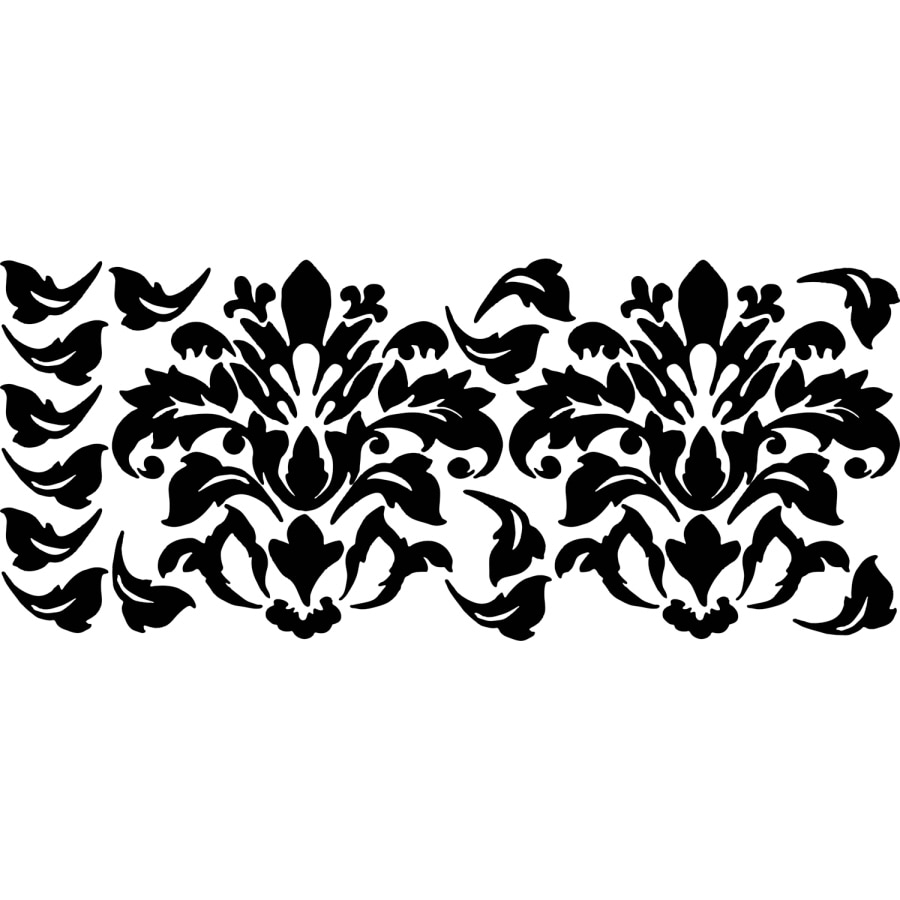 Shop york wallcoverings damask appliques at for Black white damask wallpaper mural