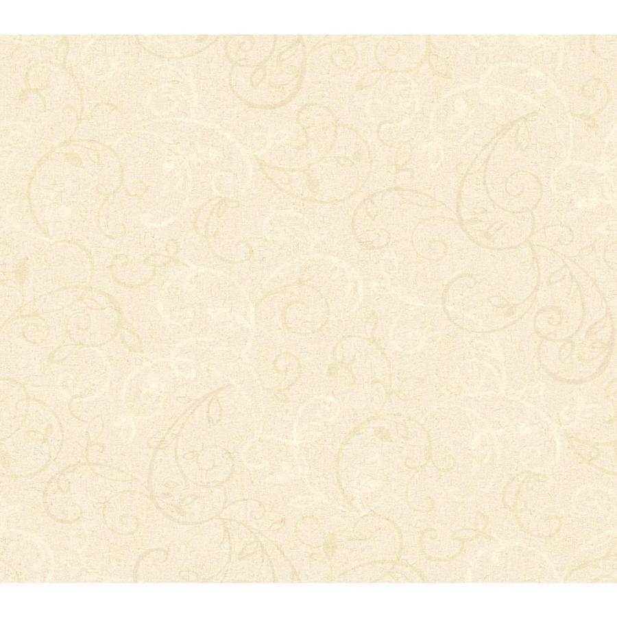 York Wallcoverings Beige Book Cream Paper Floral Wallpaper