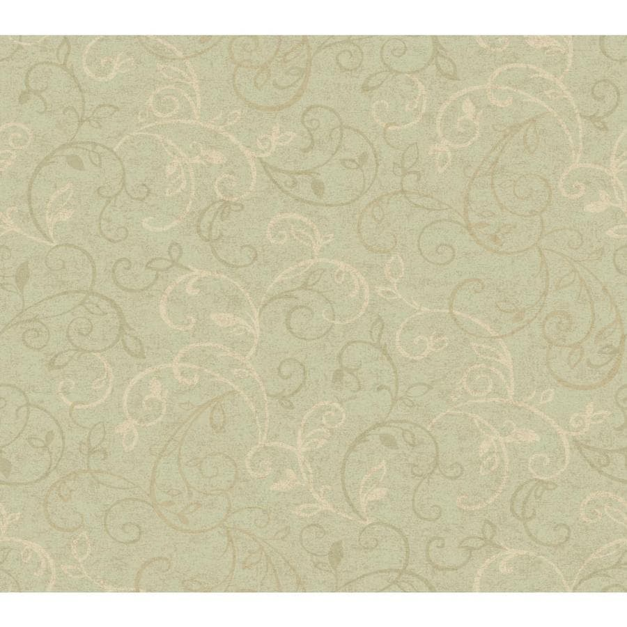 Inspired By Color Green Book Green and Cream Paper Scroll Wallpaper