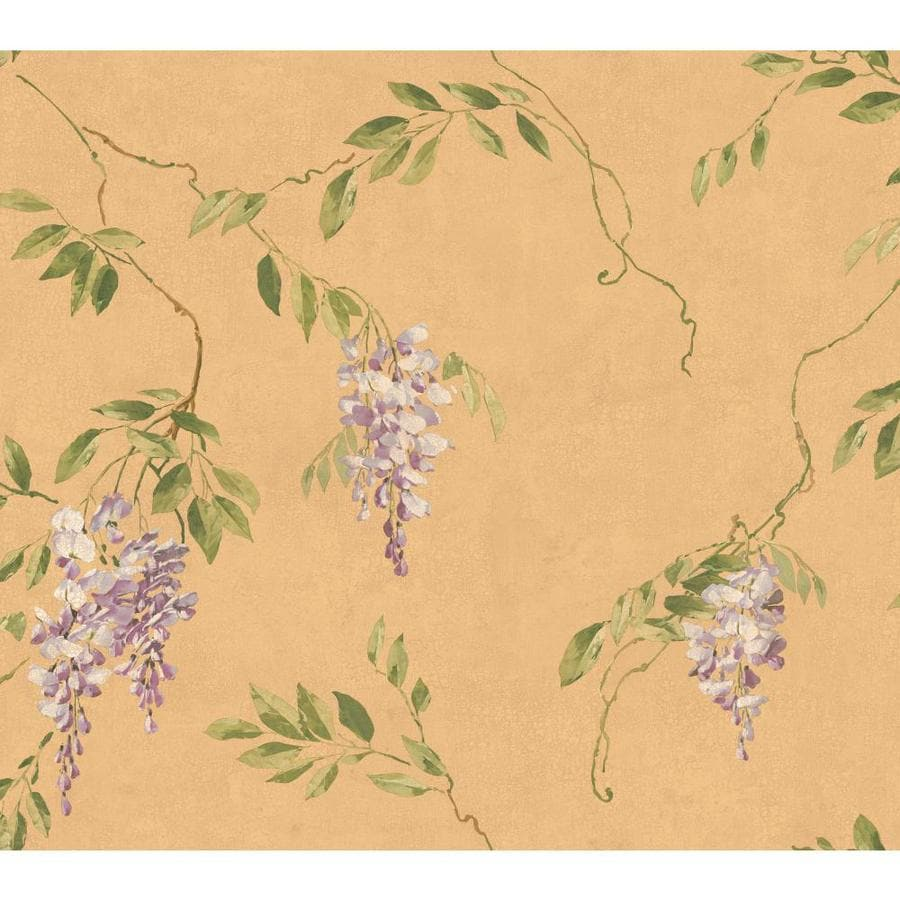 Inspired By Color Metallics Book Tan, Green and Purple Paper Floral Wallpaper