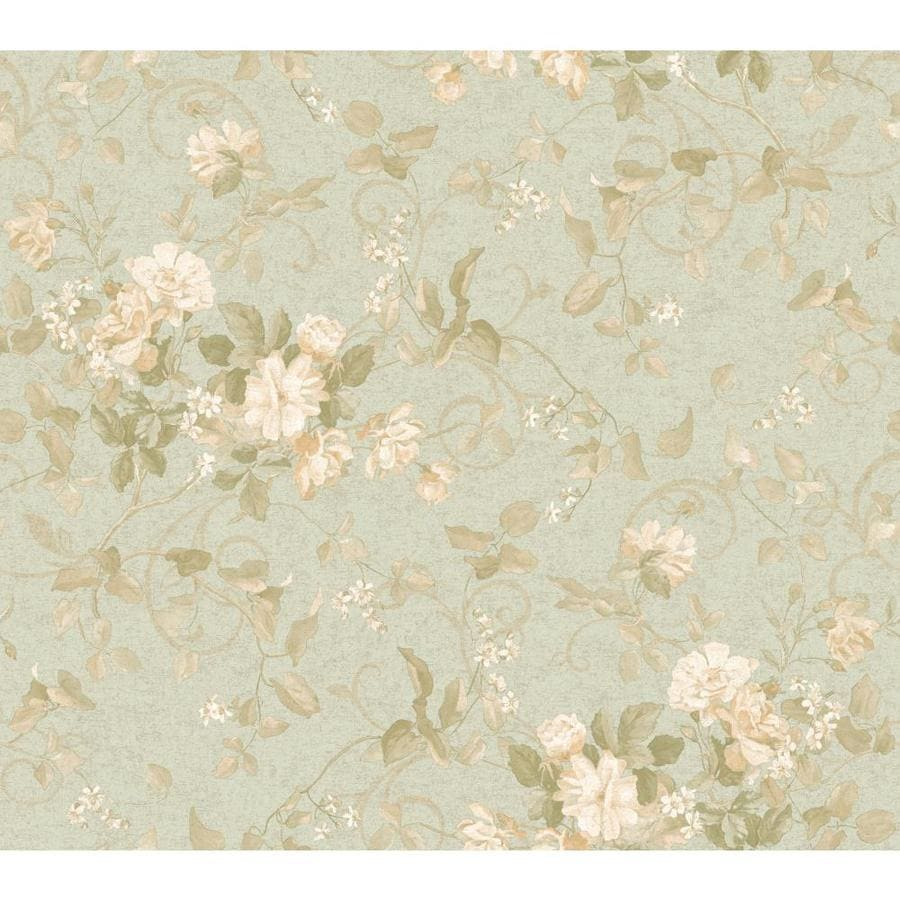 Inspired By Color Green Book Green, Blue and Ivory Paper Floral Wallpaper