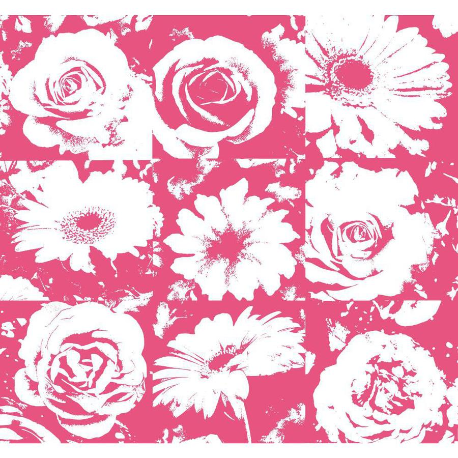 York Wallcoverings Risky Business II Fuchsia/White Paper Floral Wallpaper