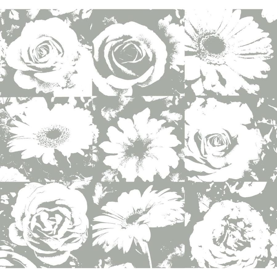 York Wallcoverings Gravel Gray/White Paper Floral Wallpaper