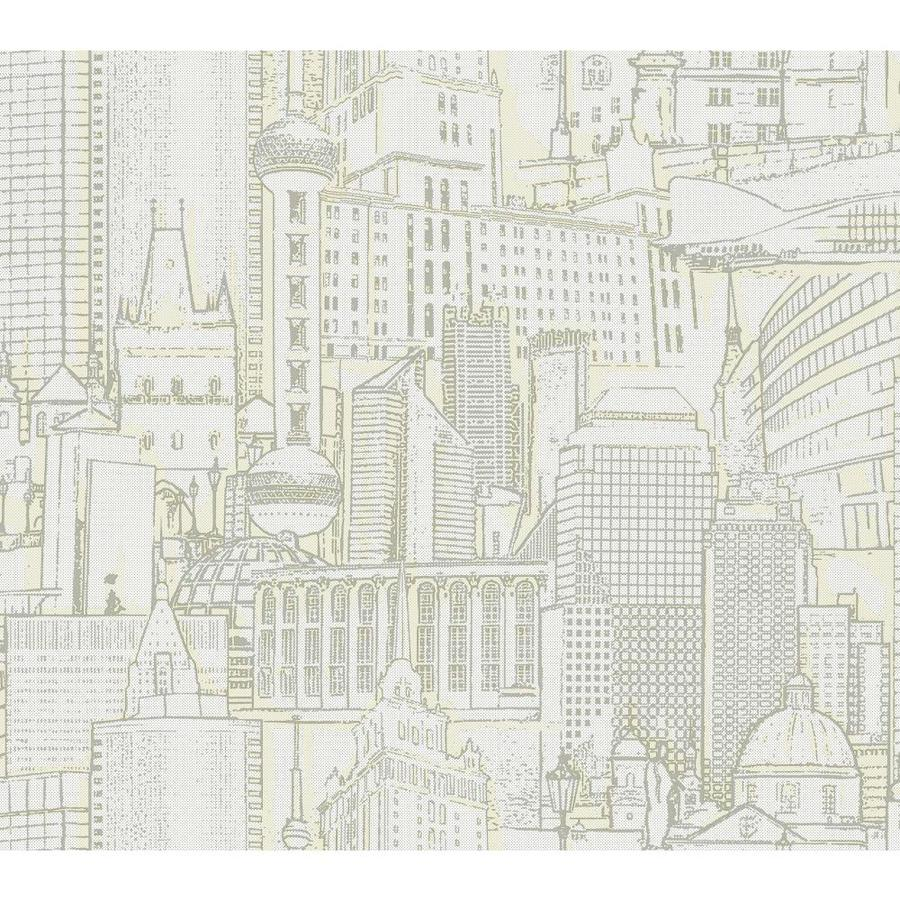 York Wallcoverings Risky Business II White/Tan/Silver Paper Scenic Wallpaper