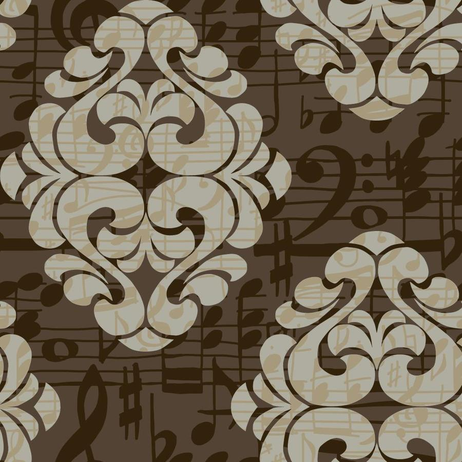 York Wallcoverings Risky Business II Grey Pearl/Mocha/Chocolate Brown Paper Damask Wallpaper