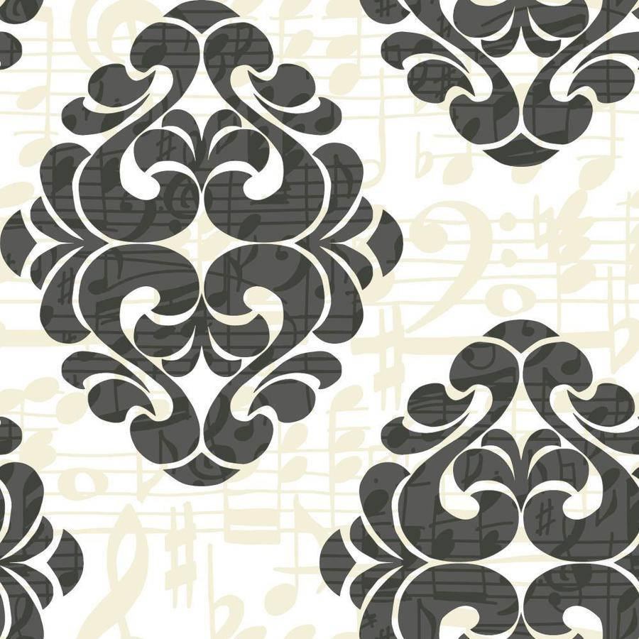 York Wallcoverings Risky Business Ii Black/Taupe/White Paper Damask Wallpaper