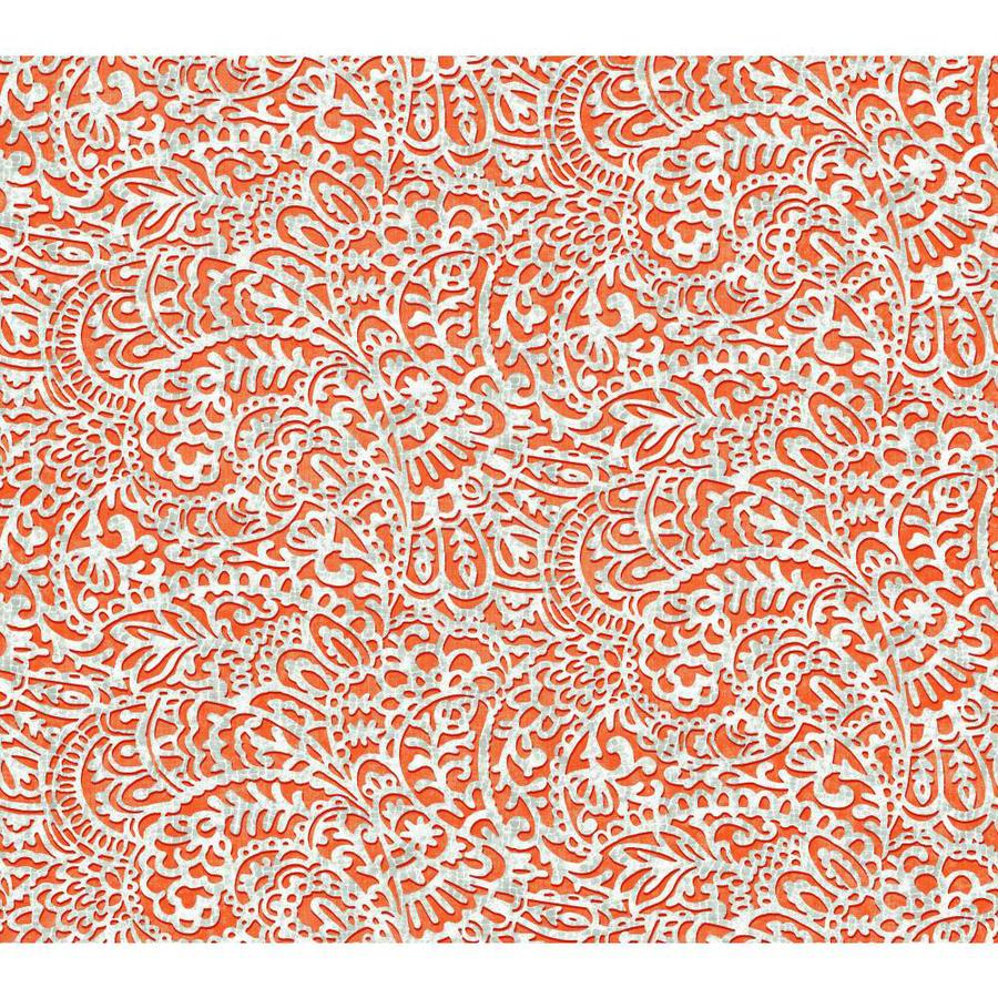 York Wallcoverings Risky Business II Ash Gray/White/Tangerine Orange Paper Paisley Wallpaper