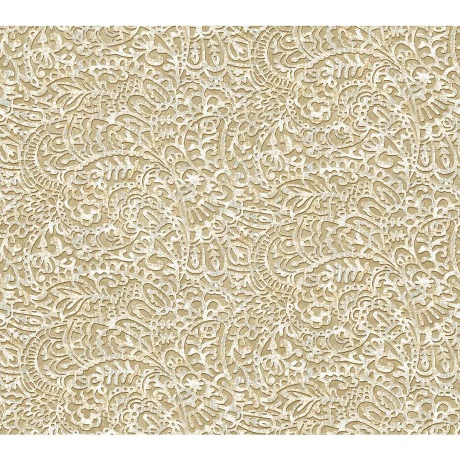 York Wallcoverings Risky Business II Ash Gray/White/Putty Brown Paper Paisley Wallpaper