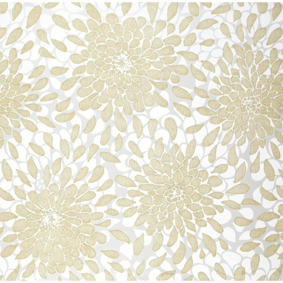 York Wallcoverings Risky Business Ii Gold Glitter/White/Ash Gray Paper Textured Floral Wallpaper
