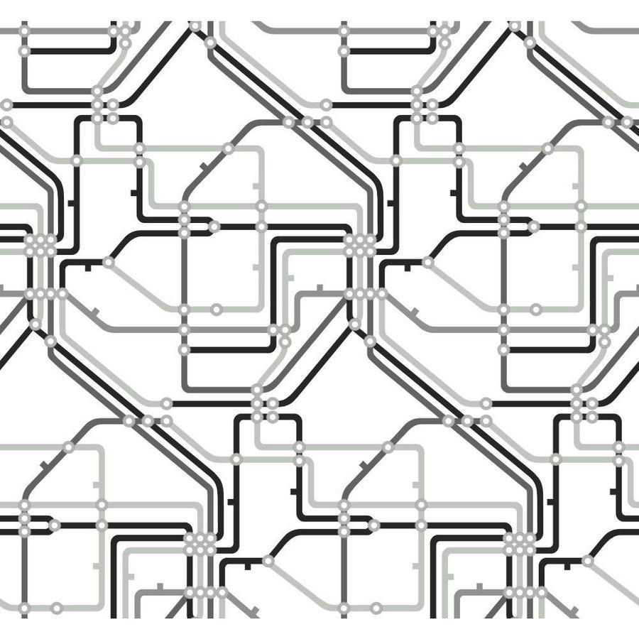 York Wallcoverings Risky Business II Black/Silver Gray/White Paper Geometric Wallpaper