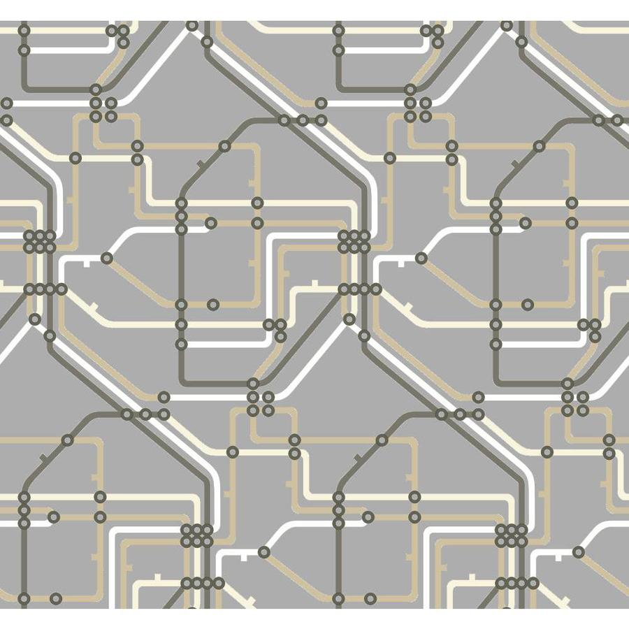 York Wallcoverings Risky Business II Beige/Charcoal Gray/Deep Pewter Metallic Paper Geometric Wallpaper