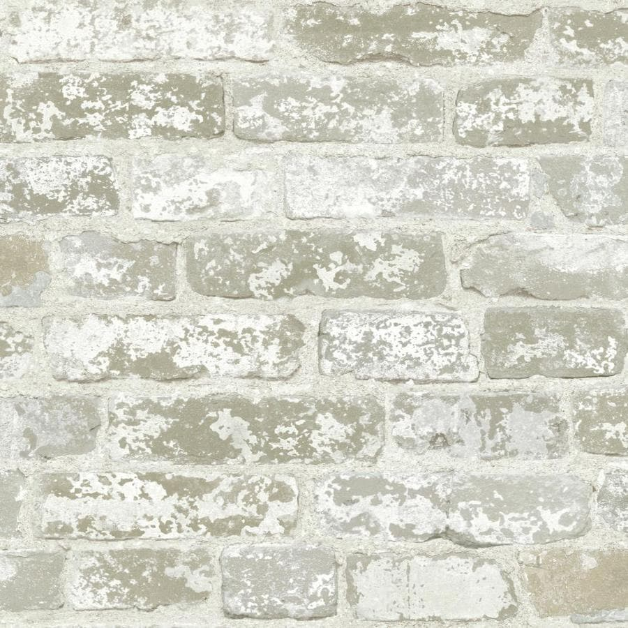 York Wallcoverings Country Keepsakes Weathered White Ash Paper Brick Wallpaper