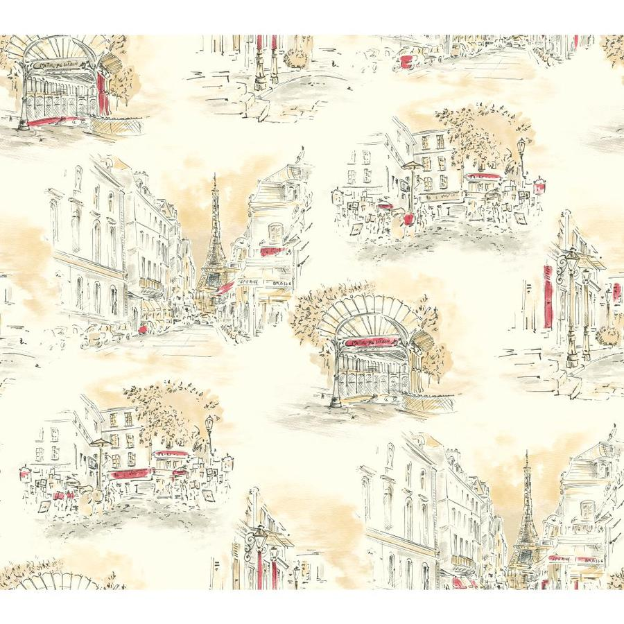 Inspired By Color Ivory and Black Paper Toile Wallpaper