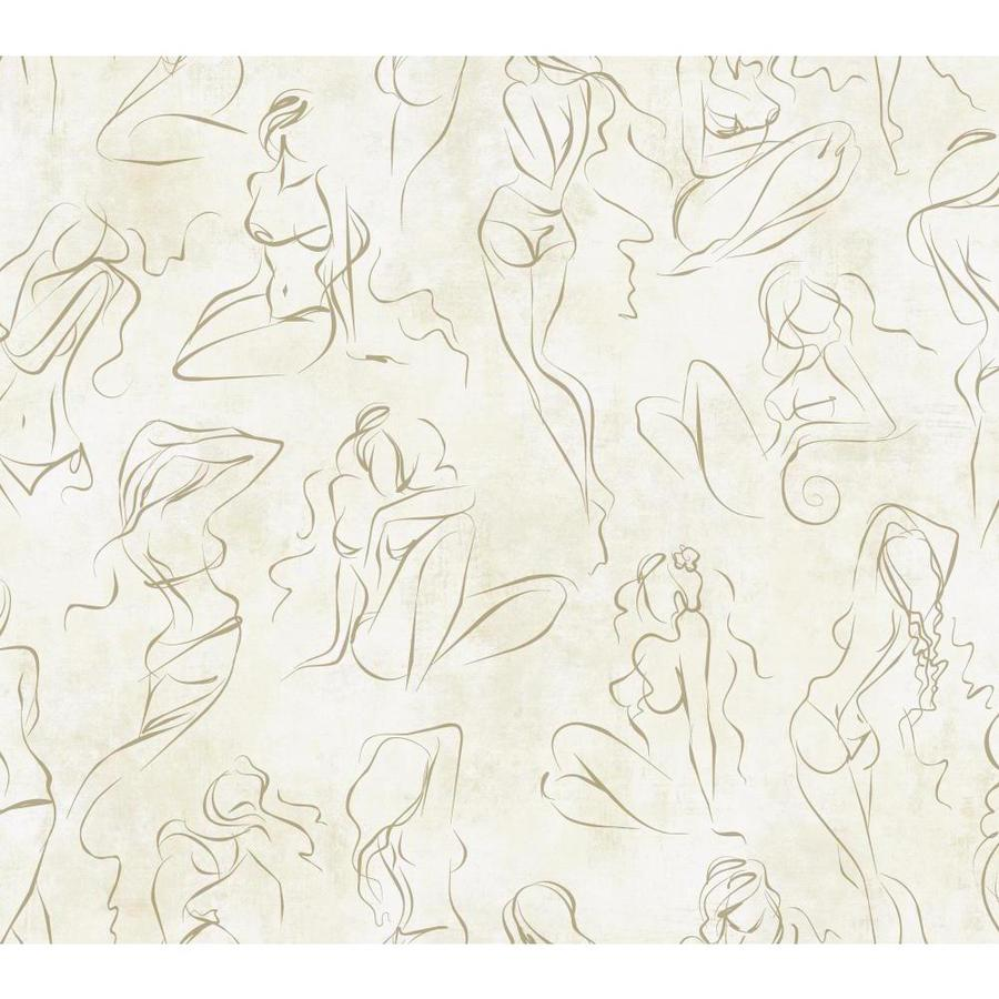 York Wallcoverings Gold Glint/Oyster Pearl Paper Brushstroke Wallpaper