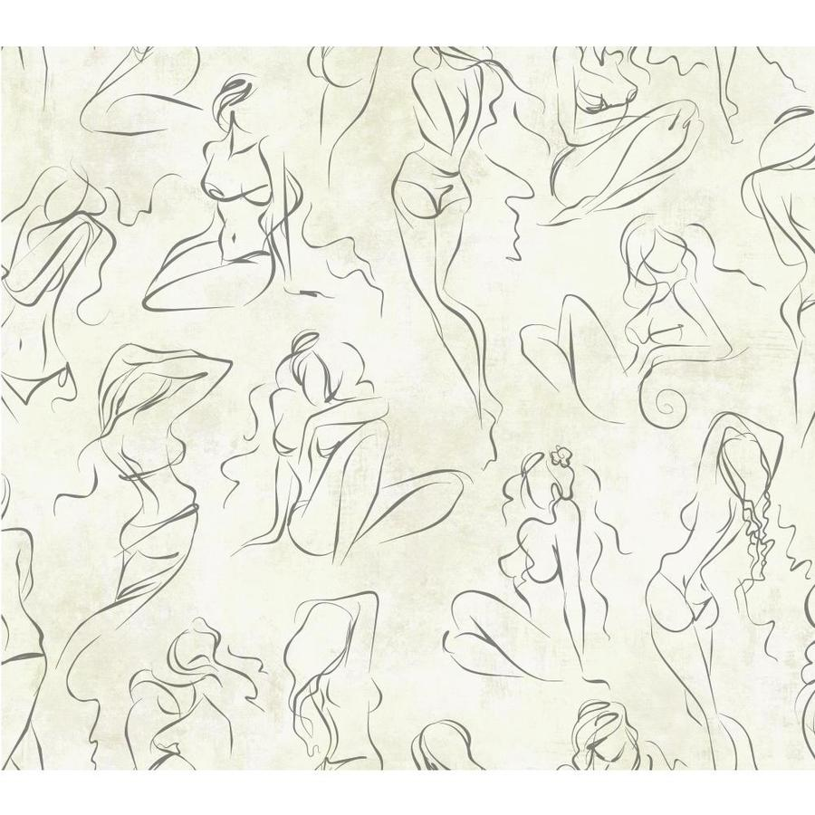 York Wallcoverings Risky Business II Silver Metallic/Cream Pearl Paper Brushstroke Wallpaper