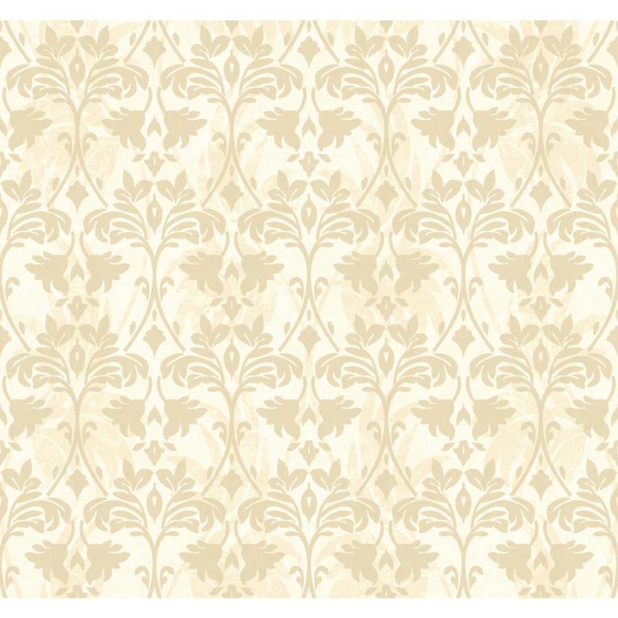 York Wallcoverings Beige Book Cream, Beige Paper Textured Damask Wallpaper