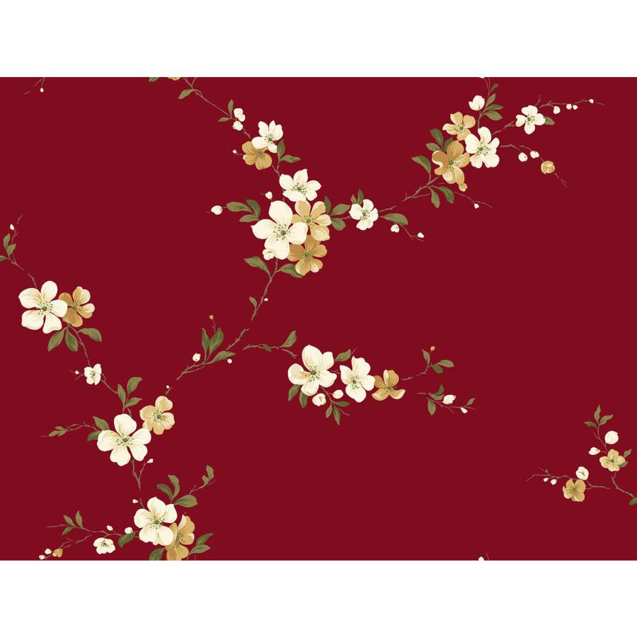Inspired By Color Red and Ivory Paper Floral Wallpaper