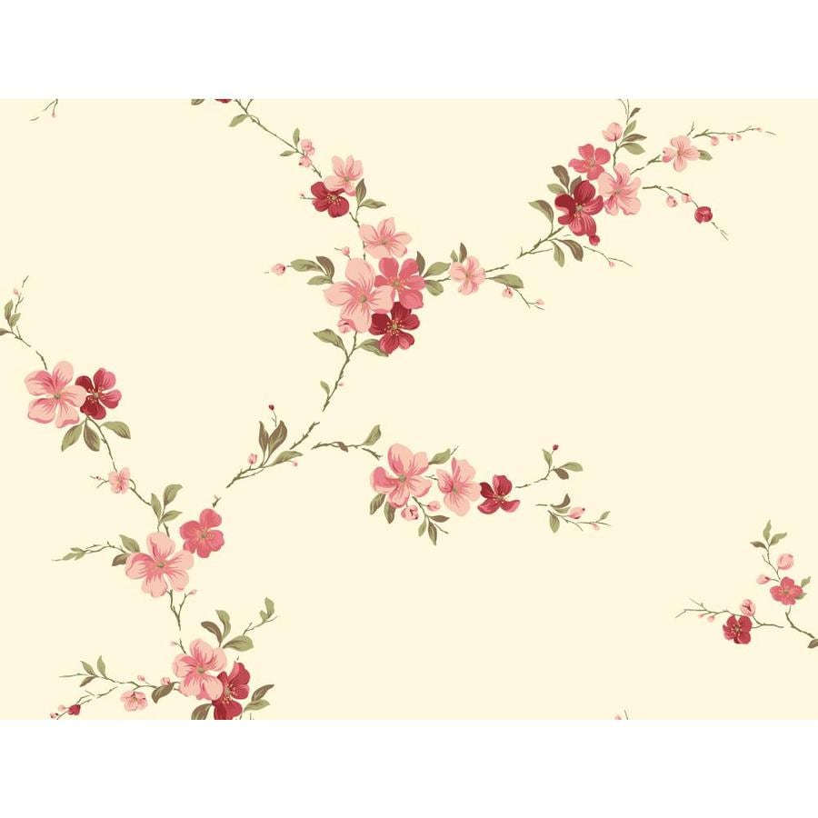 Inspired By Color Red Book Red, Pink and Ivory Paper Floral Wallpaper