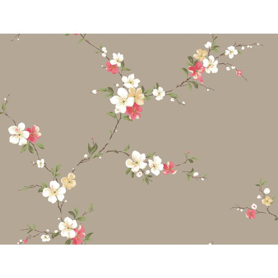 York Wallcoverings Beige Book Gray, Pink, Beige Paper Textured Floral Wallpaper