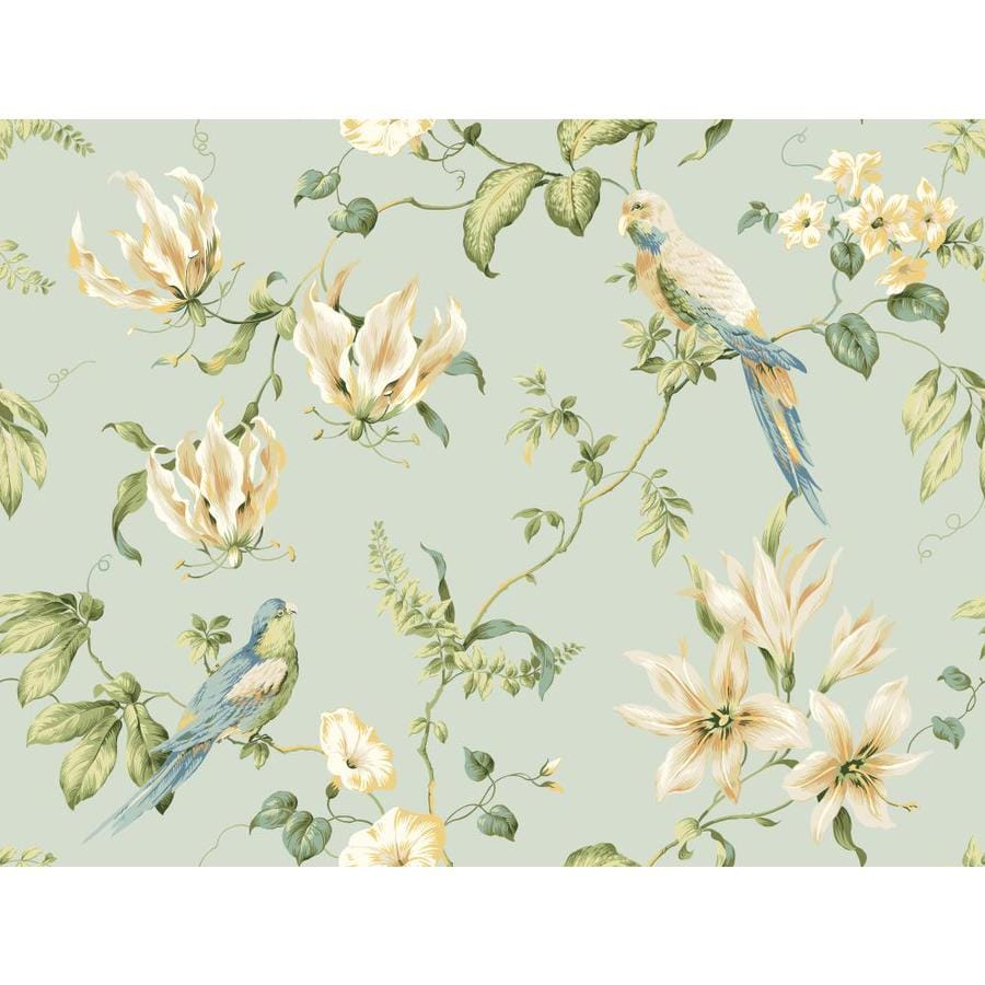 Inspired By Color Blue and Beige Paper Floral Wallpaper