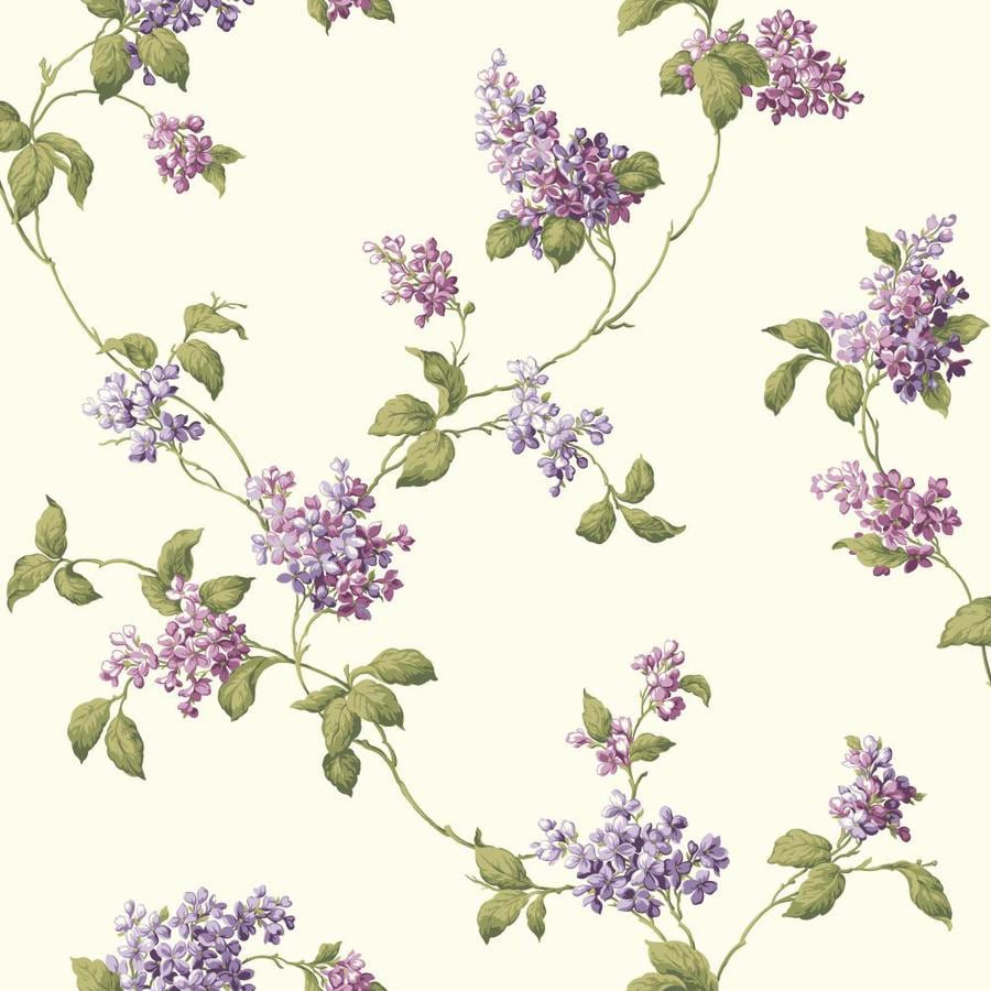 Inspired By Color Purple and Ivory Paper Floral Wallpaper