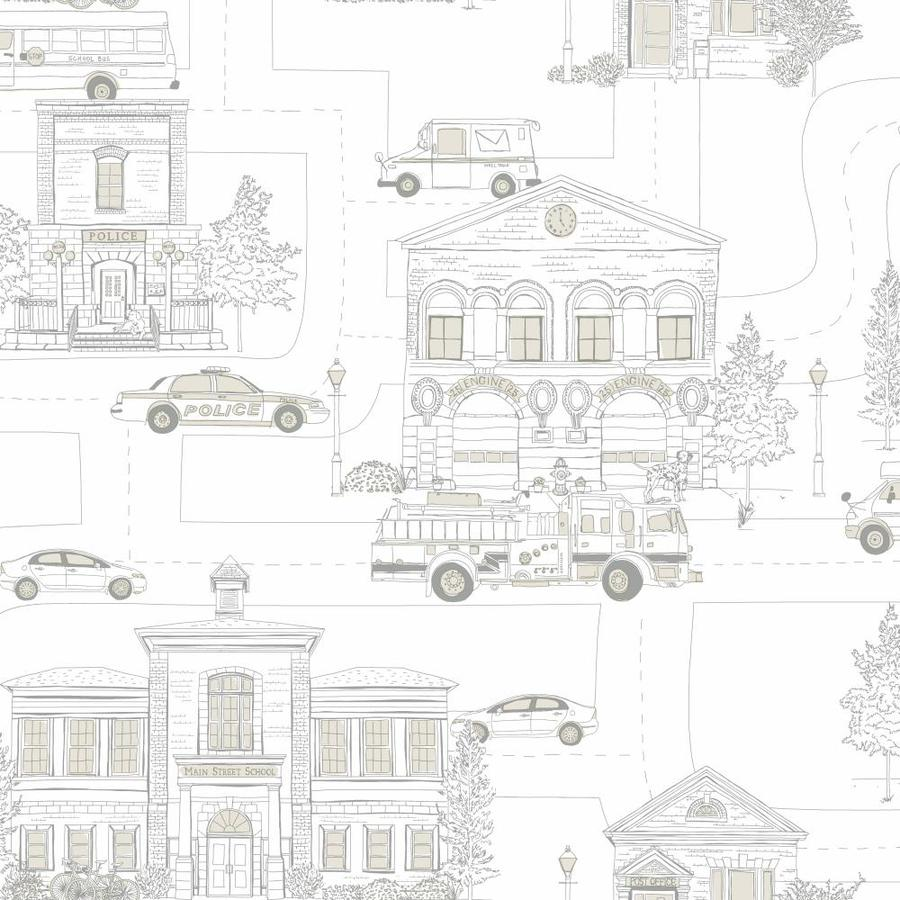 Inspired By Color Boys Will Be Boys II Gray, White Paper Scenic Wallpaper