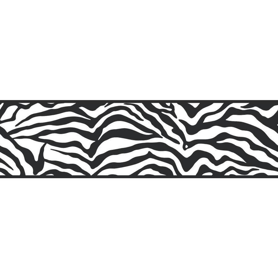 Inspired By Color 6.75-in Black/White Prepasted Wallpaper Border