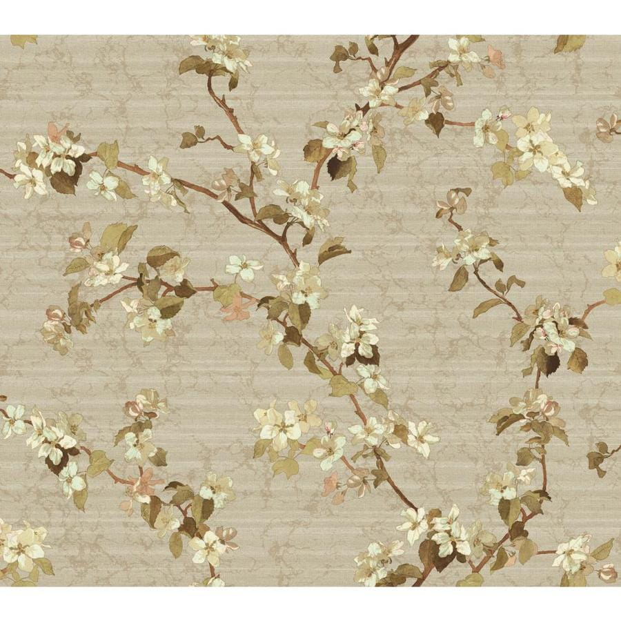 Inspired By Color Green, Cream, Brown and Gray Paper Floral Wallpaper