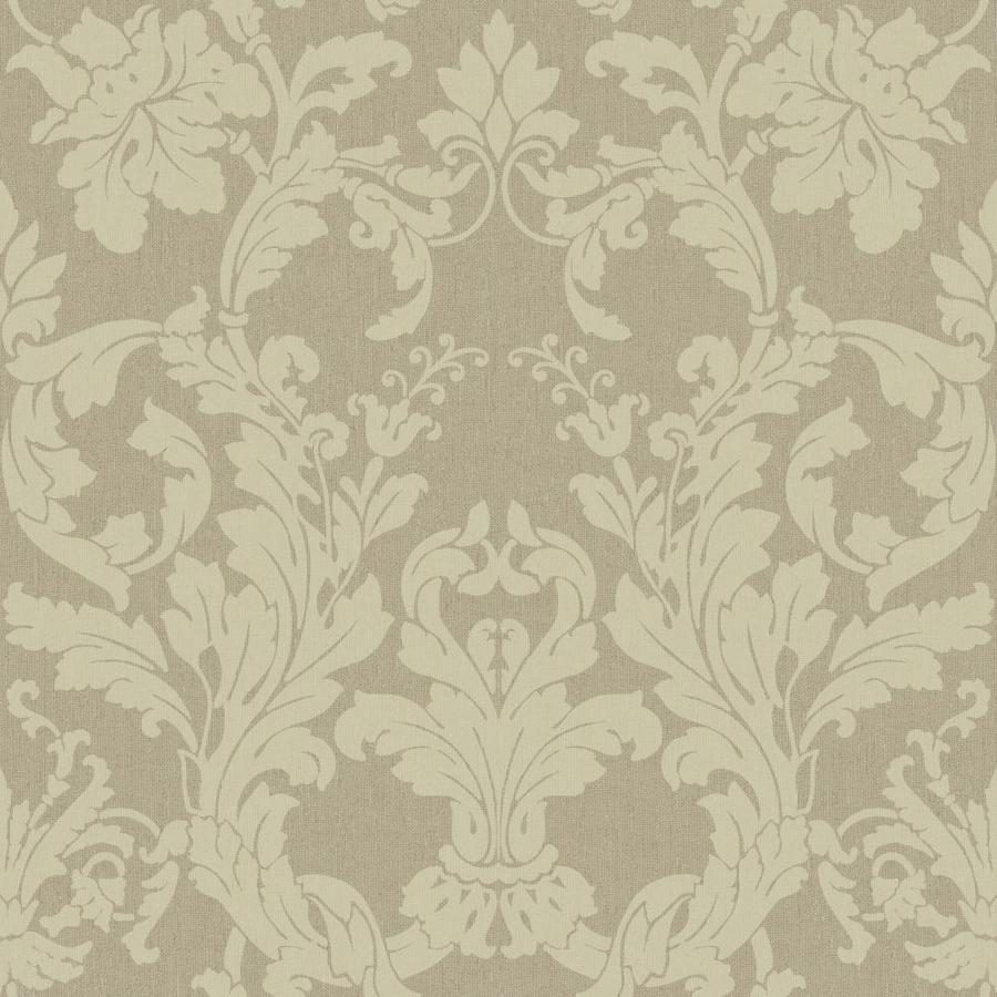 York Wallcoverings Beige Book Green Paper Damask Wallpaper