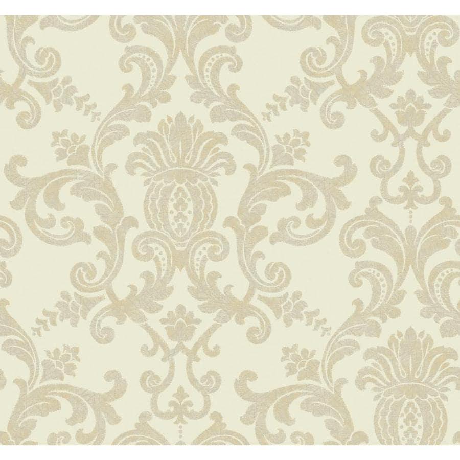 York Wallcoverings Cream, Beige Paper Damask Wallpaper