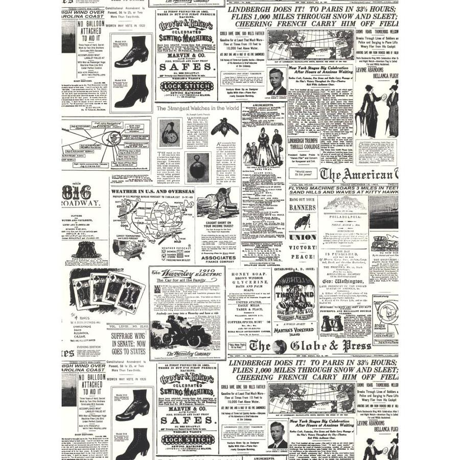 York Wallcoverings Black and White Book Black and White Paper Scenic Wallpaper