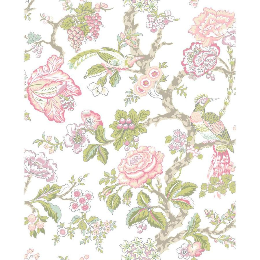 York Wallcoverings Cream Rosy Pink And Aqua Strippable