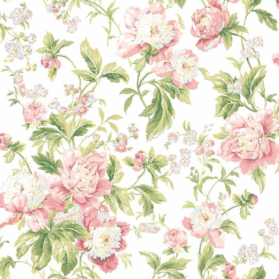 York Wallcoverings Cream Dusty Rose And Pale Pink Strippable Prepasted Clic Wallpaper