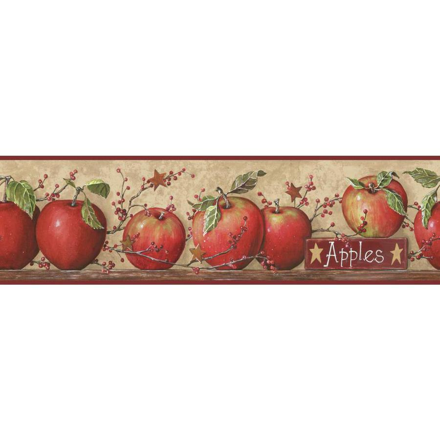 Inspired By Color 6-in Khaki Tan/Red Burgundy Prepasted Wallpaper Border